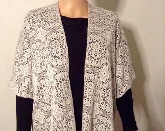 Loose-fitting kimono jacket lace stretch ivory