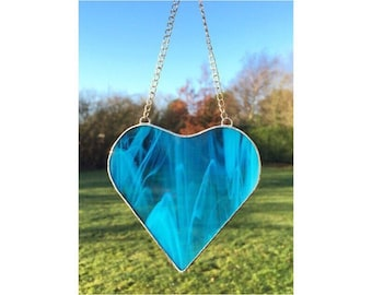 Stained Glass Blue Heart Suncatcher Decoration