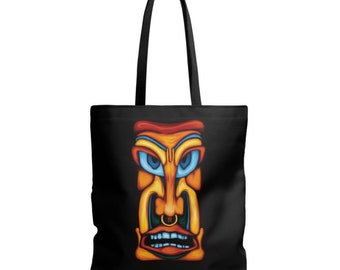 Tiki purse - mask face - Totem digital painting printed on black fabric - gift art - tiki gift tote bag - free shipping