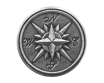 Danforth Compass Rose 7/8 inch ( 23 mm ) Pewter Button