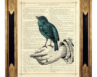 Blue Bird Art Print Finger Hand Country Home Gift Valentine's Day - Vintage Victorian Book Page Art Print Steampunk
