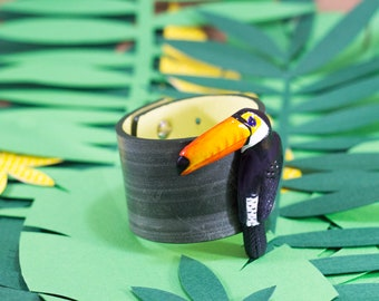 Genuine Leather Toucan-Monstera cuffs, bracelet, polymer, jungle, toucan  fashion accessories, trendy bracelets
