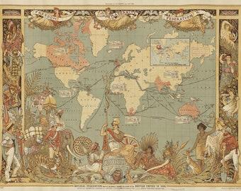 British Empire in 1886 Map Vintage Druck, Vintage Print, Poster, Antique Illustration, World, Map, Geo UK
