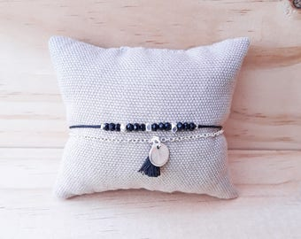 Bracelet faceted black beads and silver, tiny Locket and chain