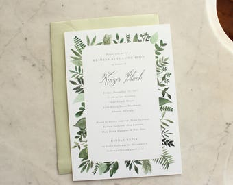 bridal luncheon, bridesmaids' luncheon OR wedding shower invitation - green ferns / greenery and grey