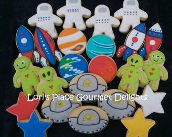 Outer Space Cookies - Space Cookies - Decorated Cookies - 24 Cookies