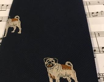 Vintage Dog Necktie, Men's Tie, Dog Tie, Bulldog Necktie, Mastiff Necktie, Pug Necktie, Dog Necktie, David Barrato