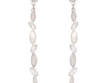 Dangling Pearl White-silver Sterling-women earrings