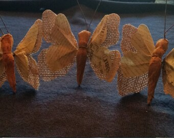 Burlap Butterflies - Set of 3