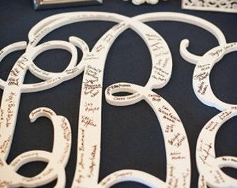 26 INCH Wooden monogram, Wall Letters, Wedding Decor, Home Decor Wood Monogram, Unpainted vine monogram, Door hanging monogram, Home Decor