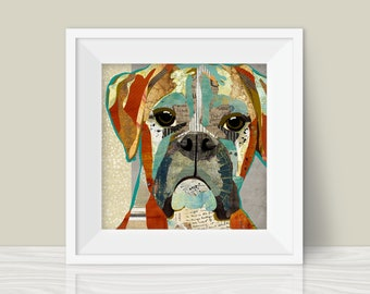 Boxer Collage Art Print - A Whimsical and Colorful  12x12in Home & Wall Decor Art Print and Unique Gift for Boxer Lovers