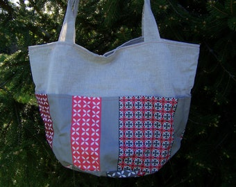"""Tote bag"" coated linen and cotton pockets coated and her purse"
