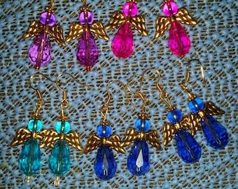 Angel earrings in colors shown. Light wearing earrings. Glass earrings.