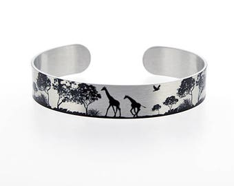 Giraffe jewellery, brushed silver cuff bracelet, metal bangle with black giraffes. Giraffe lover gift. African animal gifts. S505