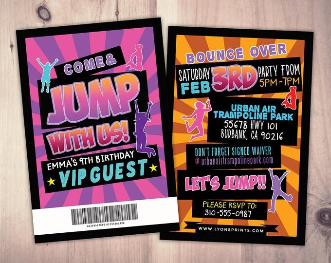 Jump invitation, Bounce house invitation, Trampoline birthday invitation, Pump It Up Party, trampoline party, jump birthday, VIP pass
