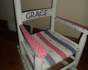 Child Rocking Chair- Kid Rocking Chair- Small Rocker- Polka Dot- Personalized Hand Painted Rocking Chair