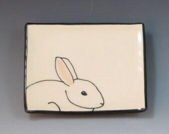 Handbuilt Ceramic Soap Dish with Rabbit