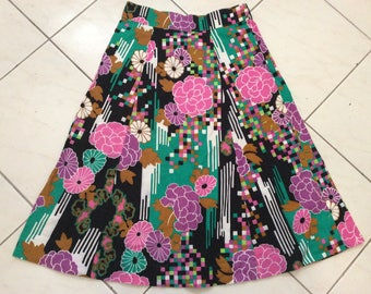 Vintage 60s 70s Cotton Midi Skirt Sz Small