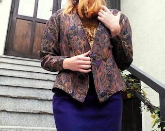 Vintage Golden Colorful Blazer Jacket / Tapestry Embroidered / Baroque / Ornaments / Elegant / Retro / Royal Look / Tribal / 80's Dynasty