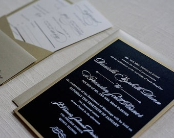 Black and Gold Pocket Wedding Invitations, Formal Gold Pocket Invitations, Classic Wedding Invite, Traditional | Danielle and Brandon
