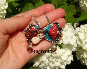 Earrings asymmetrical red butterflies with polymer clay