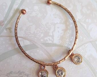 Gold and rhinestone cuff bangle, boho gypsy belly dancer bangle cuff, unusual bangle, wedding cuff bangle, bangle cuff under 20