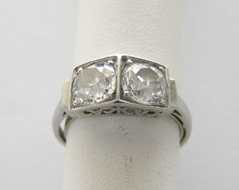 Antique Platinum Double Diamond Engagement Ring Circa 1920 T.D.W. 2.68 Cts.