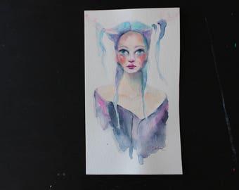 Original Watercolor Girl 4.75in x 8in