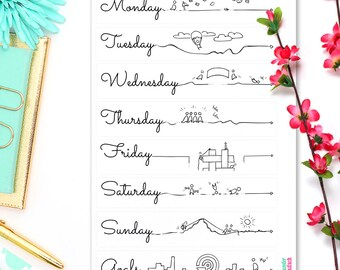 "Daily Log Headers • Bullet Journal  Stickers • fit your Leuchtturm and Moleskine 5"" x 7"""