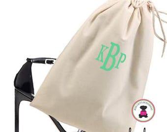 Monogrammed  Shoe Bag for Travel  -  Natural   - FREE SHIP