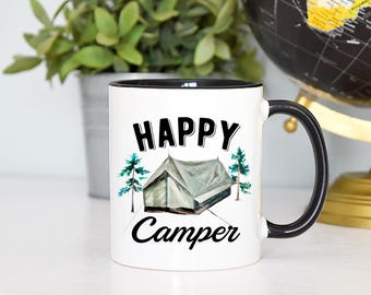 Happy Camper Mug, Happy Camper, Adventure Awaits Mug, Gift for Him, Fathers Day Gift, Camping Mug, Adventure Mug, Campfire Mug, Tent Mug
