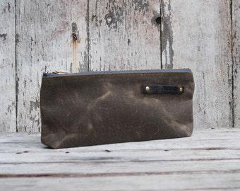 Zip Pouch, Medium Waxed Canvas Pouch, Truffle, Pencil Case, Cosmetic Case, Make Up Bag, Zipper Pouch, Monogram, Customize, Travel Case, Bag