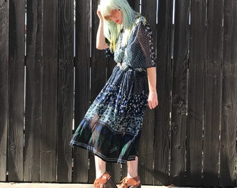 Hippie Dress - Indian Cotton - Boho Clothing - Midi Dress - Festival Clothes - Semi Sheer Dress - Bohemian Dress - Womens SMALL MEDIUM