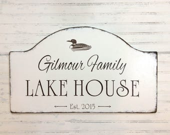 Personalized LAKE HOUSE sign, rustic Lake cabin sign, custom cabin  sign, decoy duck cottage sign, rustic lakeside home decor