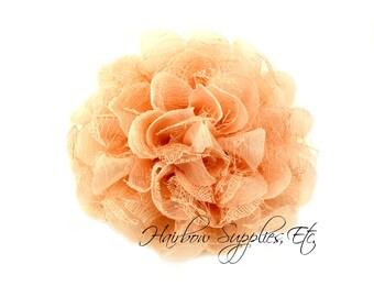 Peach Petite Lace Chiffon Flowers 3.5 inch - Peach Shabby Flowers, Peach Fabric Flower, Peach Chiffon Flower, Peach Flowers for hair