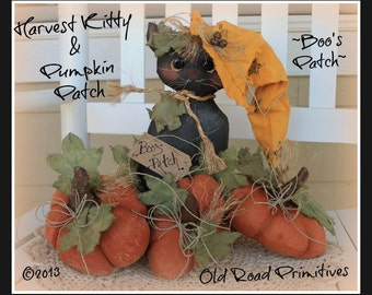 Primitive Black Cat Pattern Boo's Patch Harvest Kitty and Pumpkin Patch Halloween PDF Pattern PDF Sewing Patterns Patterned