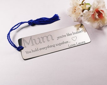 Mothers Day gift bookmark engraved bookmark personalised gift for women custom design pewter bookmark gifts for her Mothers Day gift