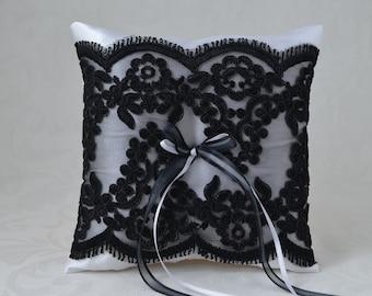 Wedding Ring Pillow, Ring Bearer Pillow, Black and White Wedding Ring Pillow, Ring Bearer, Black Lace Ring Pillow.