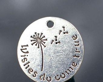 """4pcs-""""Wishes do come true"""" charm- Antique silver tone dandelion Charm"""