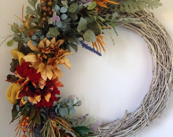 Wreath for All Seasons-Large Front Door Wreath-Fireplace Wreath-Sunflower Wreath-Wedding Wreath-Fall Wreath