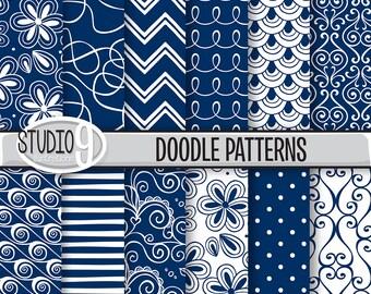 Navy Blue Digital Paper: Navy Blue DOODLE PATTERNS Printable Pattern, 12 x 12 Navy Blue Download, Navy Blue Backgrounds Navy Blue Scrapbook