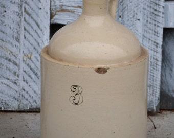 3 Gallon Whiskey Jug / Heavy Tan Stoneware / Vintage Primitive Decor