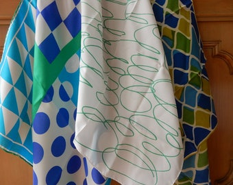3 VERA Vintage 60s Geometric Blues and Greens Scarves Scarf    OAN34