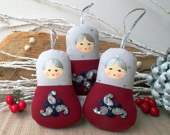 Babushka doll ornament, russian dolls, 3 or 6 dolls set. Maroon red and grey. Mini matryoshka. Christmas ornament, Nice gift for anybody