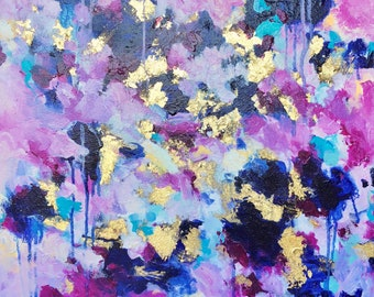 """20"""" x 20"""" Square Modern Acrylic Original Painting on Canvas- Pink, Blue, Gold, Magenta, Teal"""