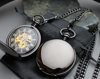 Premium Black Pocket Watch, Pocket Watch Chain, Engraved Pocket Watch, Personalized Gift, Watch - Item MPW163-blk