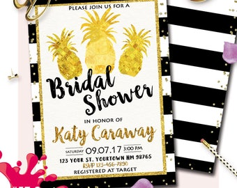 Travel vintage around the world bridal shower games package black gold pineapple bridal shower invitation gold pineapple bridal shower tropical aloha bridal shower gumiabroncs Gallery