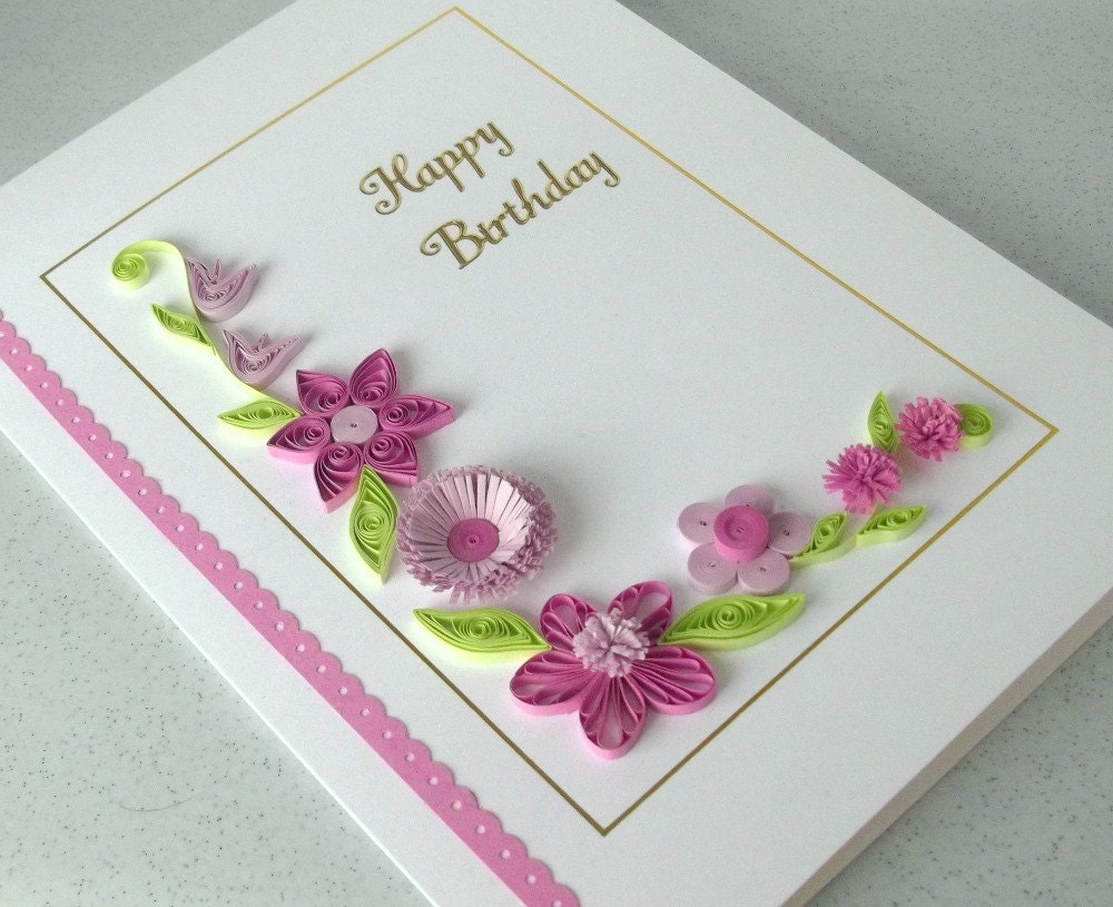 Paper quilling birthday card handmade can be personalized zoom bookmarktalkfo Image collections