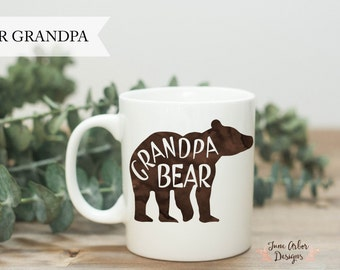 Grandpa Bear Coffee Mug | Grandfather Gift | 11 oz or 15 oz | Pregnancy Reveal to Parents | New Grandpa Gift | Gift for Dad | New Grandchild