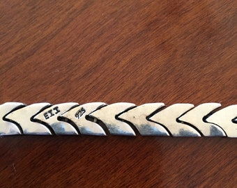 "Sterling Silver 7.5"" Herring Bone Bracelet Stamped .925"